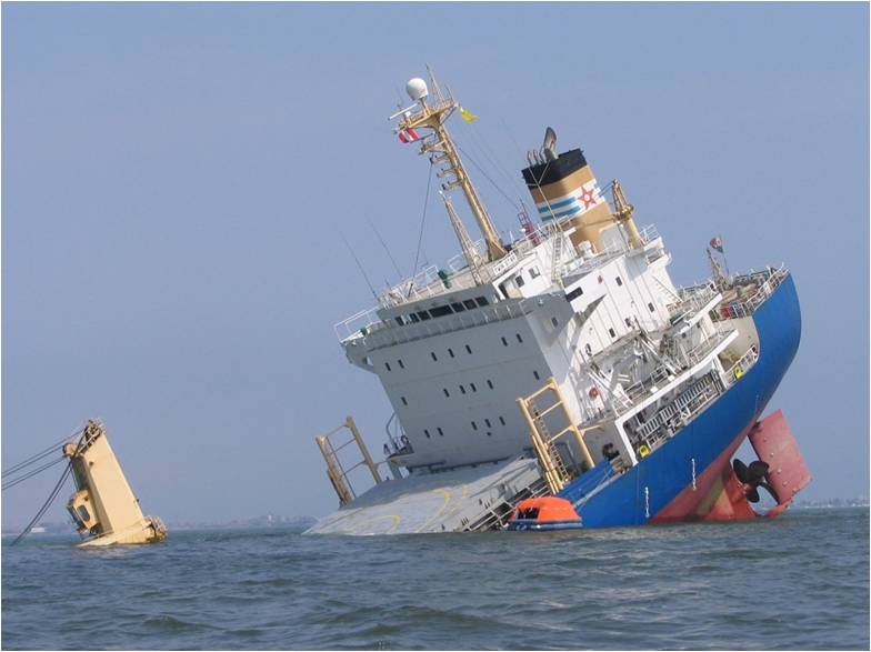Marine communications include both Analogue and Digital transmissions ... Sinking Ship Image
