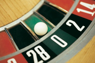 Ball on Zero on Roulette Wheel