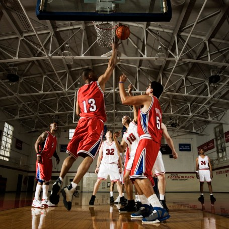 Player Attempting to Get Rebound --- Image by © Royalty-Free/Corbis