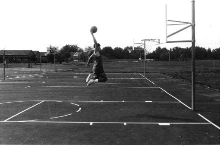 """Air Wade"" Before Retirement: No Photoshop in 1988, just an optical illusion created by an 8-foot rim."